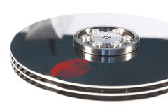 Hdd with red fingerprint Royalty Free Stock Photos