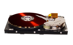 HDD with red vinyl disk instead of magnetic plate Royalty Free Stock Photo