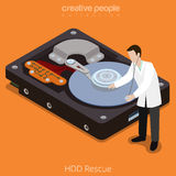 HDD Rescue process technology hard disk flat isometric vector 3d Stock Photos