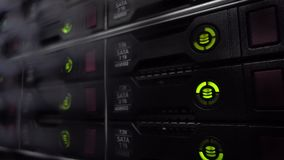 HDD Server Rack. Big dark data center. Green blink. stock footage