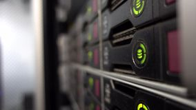 HDD Server Rack. Big data center. Green blink. stock video footage