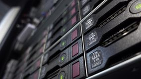 HDD Server SATA working in datacenter server room. HDD Server SATA working in datacenter server room stock footage