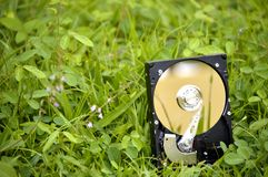 HDD silicon on grass. Stock Images