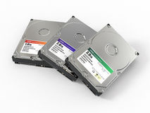 HDD. Three ATA Hard disk drive. 3d Stock Photography