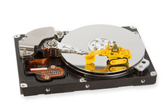 HDD with toy crawler mounted Stock Photos