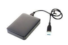 Φορητή εξωτερική κίνηση σκληρών δίσκων HDD με το καλώδιο USB στο άσπρο BA Στοκ εικόνες με δικαίωμα ελεύθερης χρήσης