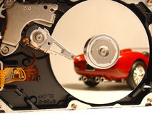 HDD vs. Ferrari Stock Photo