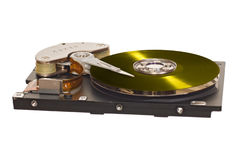 HDD with yellow vinyl disk instead of magnetic plate Stock Photos