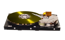 HDD with yellow vinyl disk instead of magnetic plate Stock Photography