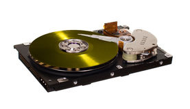 HDD with yellow vinyl disk instead of magnetic plate Royalty Free Stock Photos