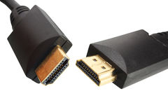 HDMI cable. HDMI cable on white background stock photo