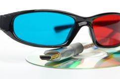 Hdmi and 3d glasses Stock Images