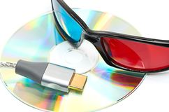 Hdmi and 3d glasses Royalty Free Stock Photos