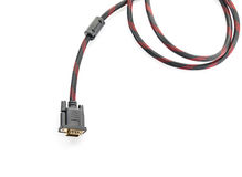 HDMI-kabel och VGA kabelkontaktdon på vit Arkivfoton