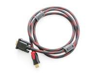 HDMI-Kabel und VGA-Kabelverbindungsstück auf Weiß Lizenzfreie Stockfotos