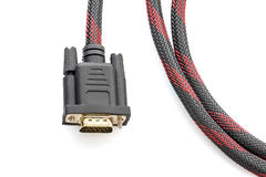 HDMI- och VGA kabelkontaktdon på vit Arkivfoton