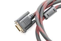 HDMI- och VGA kabelkontaktdon på vit Arkivbilder