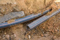 HDPE pipe at construction site. Stock Photo