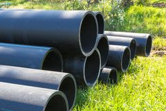Free HDPE Pipe For Water Supply At Construction Site Construction Of A Water Supply System Plastic Pipes For Water Supply Of The City, Royalty Free Stock Photo - 149579555