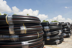 HDPE pipe rolls Stock Photo