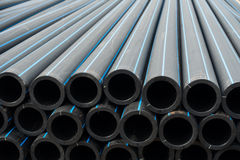 HDPE potable pipe, HDPE pipeline, Storage of HDPE pipe, HDPE pip Royalty Free Stock Photos