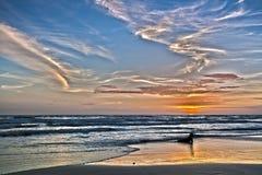 HDR在海滩的日落晚上。酸值张,泰国 库存照片