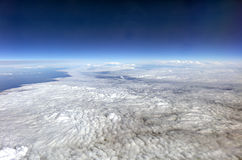HDR Aerial photo of the landscape under a cloud cover and view stretching all the way to the horizon Stock Images