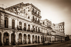 HDR - Architecture with street life view in Havana City Cuba - Retro Serie SEPIA Cuba Reportage.  Stock Image
