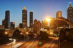 HDR of Atlanta. At Night with Traffic Blur Stock Photos