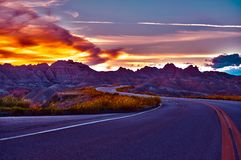 HDR Badlands Sunset Stock Photos