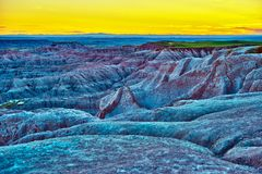 HDR Badlands Sunset Stock Image