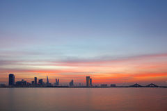 HDR of Bahrain Skyline during sunset Royalty Free Stock Photography