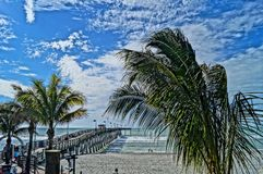 HDR Beach Scene. Venice Fishing Pier, Venice Florida shot using HDR filter royalty free stock photos