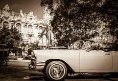 HDR - Beautiful american Buick convertible vintage cars parked before the Gran Teatro in Havana Stock Photo