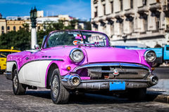 HDR - Beautiful american ping vintage car parked in Havana Cuba - Serie Cuba Reportage royalty free stock images