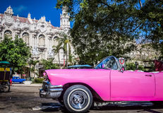 HDR - Beautiful american pink vintage car parked in Havana Cuba - Serie Cuba Reportage Stock Photo