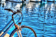 Hdr bicycle by the sea in Alghero Royalty Free Stock Photos