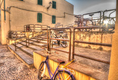 Hdr bikes in Alghero old town Royalty Free Stock Photo