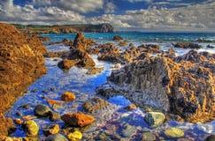 HDR bild - stenig kust på Atlanticet Ocean, Frankrike Arkivfoton