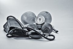 HDR black and white health care tools Royalty Free Stock Photo