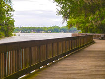 HDR Boardwalk overlooking a lake Royalty Free Stock Photos