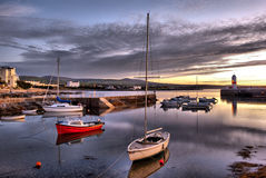 HDR - Boats in Harbour with Lighthouse Stock Photo