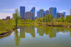 HDR Calgary Downtown from Princess Island Stock Photography