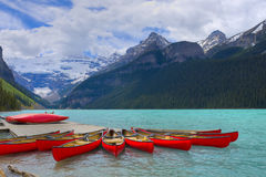 HDR Canoes on Lake Louise. Banff National park, Alberta, Canada Stock Photography