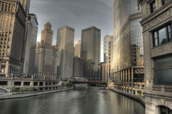 HDR of Chicago in the Early Morning Stock Photos