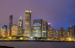 HDR of Chicago at Night Stock Images