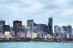 HDR of Chicago at Night Royalty Free Stock Image
