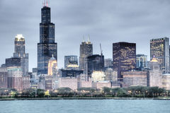 HDR of Chicago at Night Stock Image