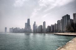 HDR of Chicago in wiith mist Royalty Free Stock Image