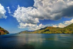HDR colorful lake mountain cloud blue sky water Stock Photo
